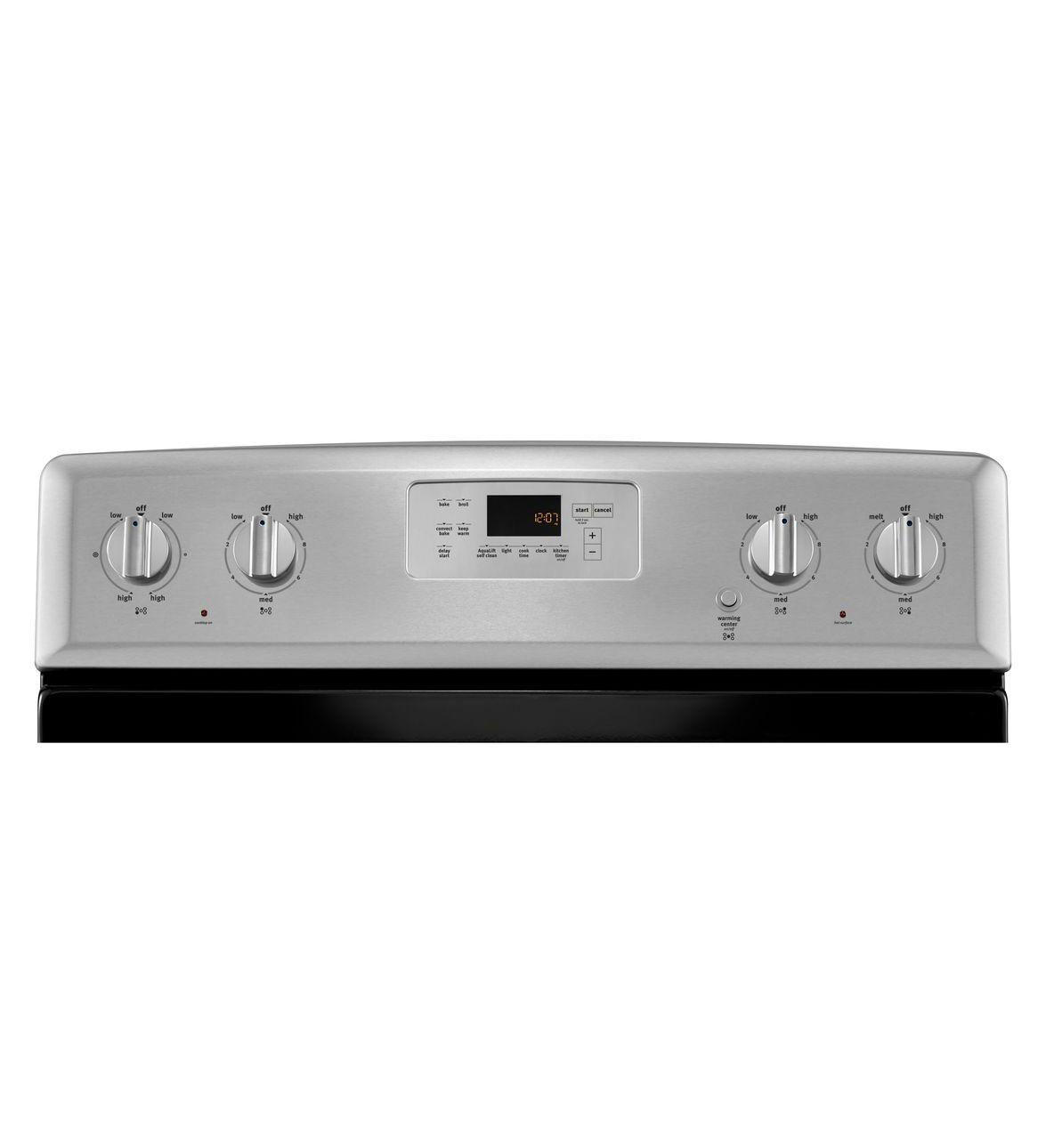 Cuisinière électrique non encastrée -6,2 pi cu avec poignées en acier inoxydable
